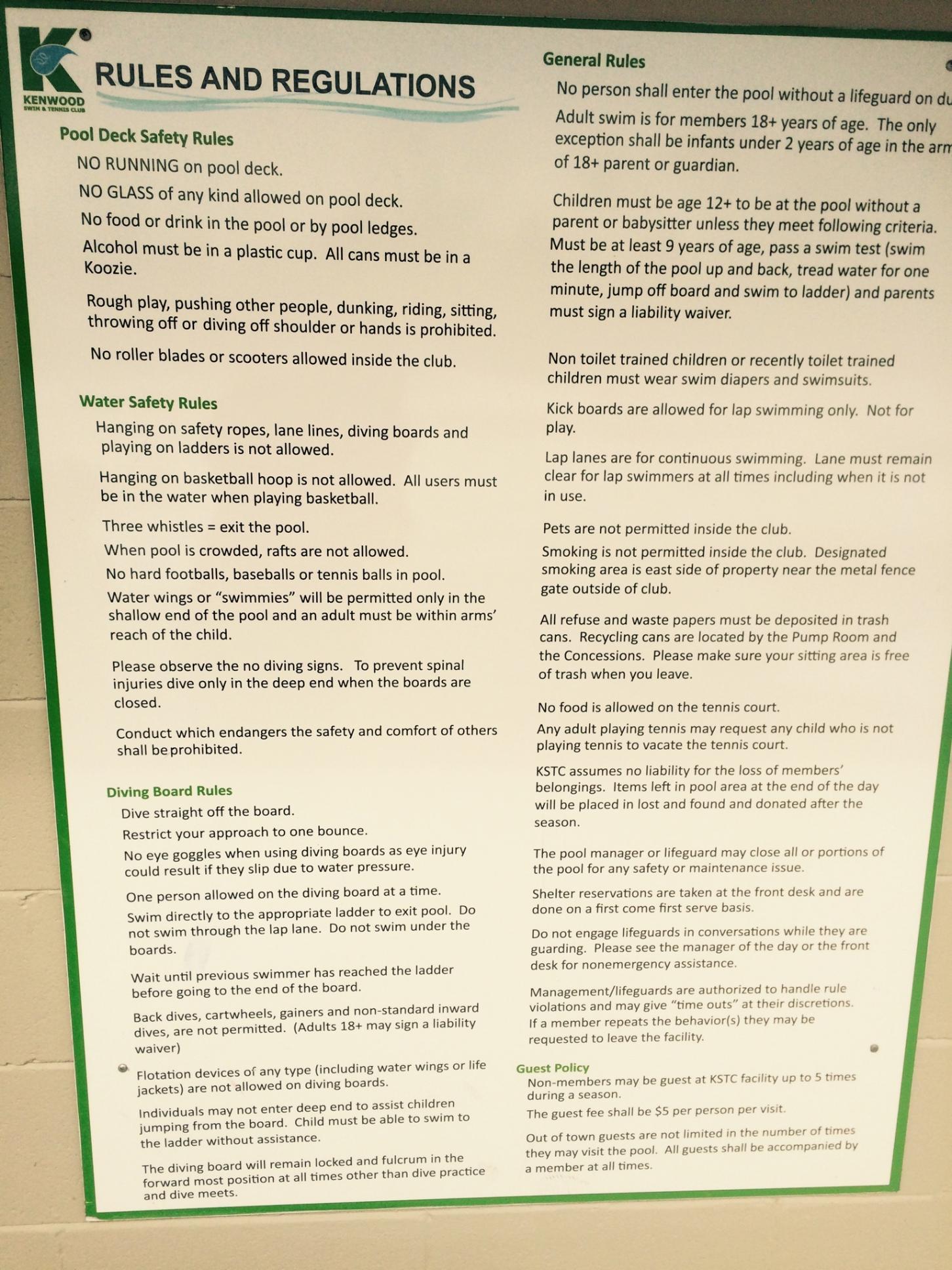 Rules and regulations kenwood swim tennis club - Rules and regulations of swimming pool ...